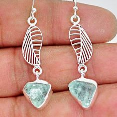 10.33cts natural aqua aquamarine raw 925 silver deltoid leaf earrings r89925