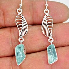 9.87cts natural aqua aquamarine raw 925 silver deltoid leaf earrings r89926