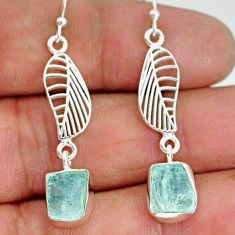 10.33cts natural aqua aquamarine raw 925 silver deltoid leaf earrings r89927
