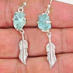 8.42cts natural aqua aquamarine raw 925 silver deltoid leaf earrings r90683