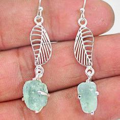 9.41cts natural aqua aquamarine raw 925 silver deltoid leaf earrings r90692