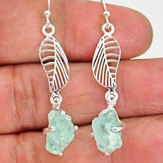 8.67cts natural aqua aquamarine raw 925 silver deltoid leaf earrings r90694