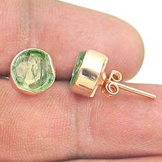 5.86cts natural aqua aquamarine raw 925 silver rose gold stud earrings t52385