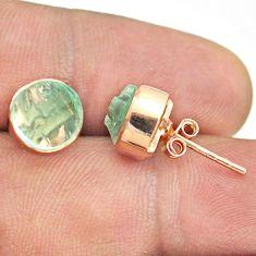 6.27cts natural aqua aquamarine raw 925 silver rose gold stud earrings t52386