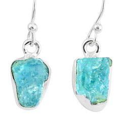 6.19cts natural aqua aquamarine raw 925 sterling silver dangle earrings r76887