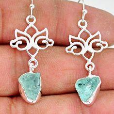 8.72cts natural aqua aquamarine raw 925 sterling silver dangle earrings r89929