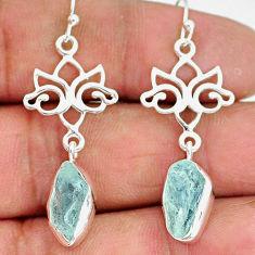 9.94cts natural aqua aquamarine raw 925 sterling silver dangle earrings r89936