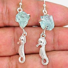 8.73cts natural aqua aquamarine raw 925 sterling silver dangle earrings r90684
