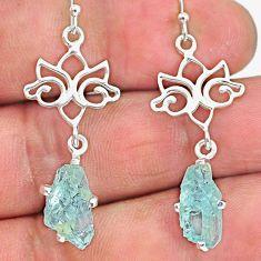 7.68cts natural aqua aquamarine rough 925 sterling silver dangle earrings r90688