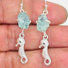 9.41cts natural aqua aquamarine rough 925 sterling silver dangle earrings r90689