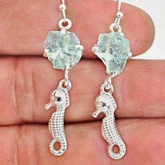 8.51cts natural aqua aquamarine raw 925 sterling silver dangle earrings r90691