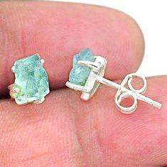 4.55cts natural aqua aquamarine raw 925 sterling silver earrings jewelry t7622