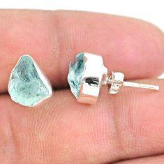 5.92cts natural aqua aquamarine raw 925 sterling silver stud earrings t25525