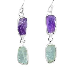12.12cts natural aqua aquamarine raw amethyst rough 925 silver earrings r93791