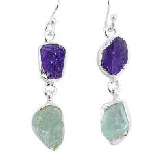 10.30cts natural aqua aquamarine raw amethyst rough silver earrings r93795