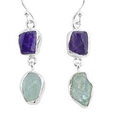 11.68cts natural aqua aquamarine raw amethyst rough silver earrings r93796