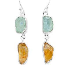 14.40cts natural aqua aquamarine raw citrine rough silver earrings r93781