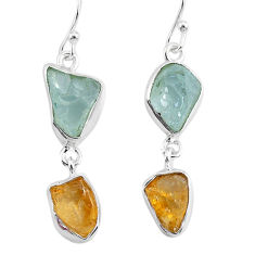 11.57cts natural aqua aquamarine raw citrine rough silver earrings r93782