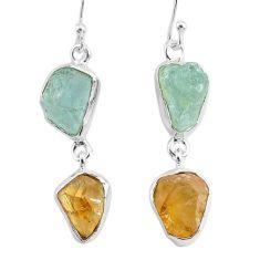 14.40cts natural aqua aquamarine raw citrine rough silver earrings r93784