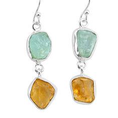 13.55cts natural aqua aquamarine raw citrine rough silver earrings r93785