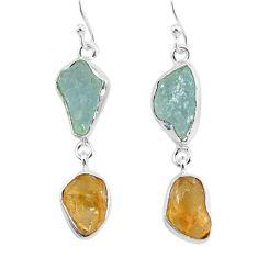 12.58cts natural aqua aquamarine raw citrine rough silver earrings r93786