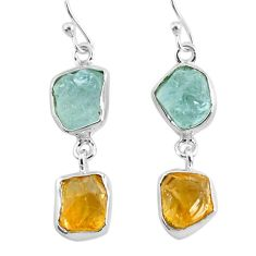 12.99cts natural aqua aquamarine raw citrine rough silver earrings r93787