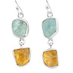 12.93cts natural aqua aquamarine raw citrine rough silver earrings r93788