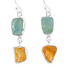 13.87cts natural aqua aquamarine raw citrine rough silver earrings r93789