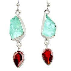 11.57cts natural aqua aquamarine rough garnet 925 silver dangle earrings d40329