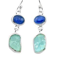 11.66cts natural aqua aquamarine raw kyanite 925 silver dangle earrings t38196