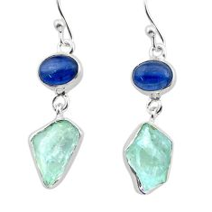 12.34cts natural aqua aquamarine raw kyanite 925 silver dangle earrings t38197