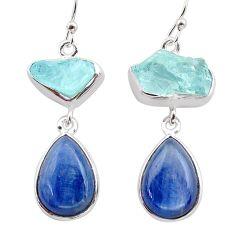 16.94cts natural aqua aquamarine raw kyanite 925 silver dangle earrings t38257