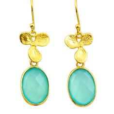 11.96cts natural aqua chalcedony 925 silver 14k gold dangle earrings r32603