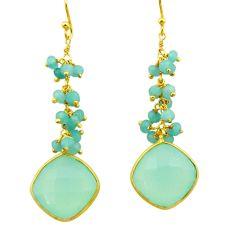 25.70cts natural aqua chalcedony 925 silver 14k gold dangle earrings r32786