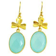 17.90cts natural aqua chalcedony 14k gold handmade dangle earrings t11505