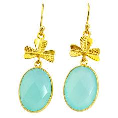 16.68cts natural aqua chalcedony 14k gold handmade dangle earrings t11506
