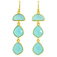 18.45cts natural aqua chalcedony 14k gold handmade dangle earrings t11558