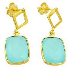 11.20cts natural aqua chalcedony 14k gold handmade dangle earrings t11594