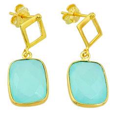 10.20cts natural aqua chalcedony 14k gold handmade dangle earrings t11595
