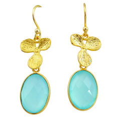 11.23cts natural aqua chalcedony 14k gold handmade dangle earrings t11697
