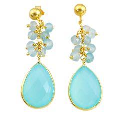 18.18cts natural aqua chalcedony handmade14k gold dangle earrings t16590