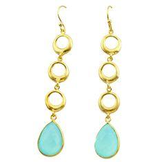11.23cts natural aqua chalcedony 925 silver 14k gold dangle earrings t44135