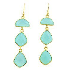 16.30cts natural aqua chalcedony 925 silver 14k gold dangle earrings t44159