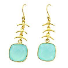 11.17cts natural aqua chalcedony 925 silver 14k gold dangle earrings t44177