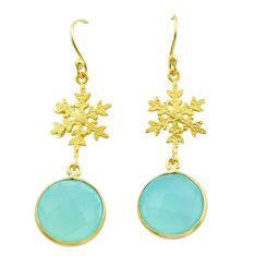 11.73cts natural aqua chalcedony 925 silver 14k gold snowflake earrings t44176