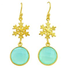 11.73cts natural aqua chalcedony 925 silver 14k gold snowflake earrings t44189