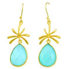 15.76cts natural aqua chalcedony handmade 14k gold dangle earrings t16387