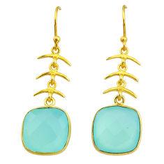 12.94cts natural aqua chalcedony handmade 14k gold dangle earrings t16426