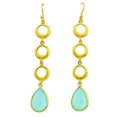 11.92cts natural aqua chalcedony handmade 14k gold dangle earrings t16428