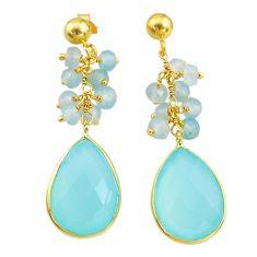 18.79cts natural aqua chalcedony handmade 14k gold dangle earrings t16631